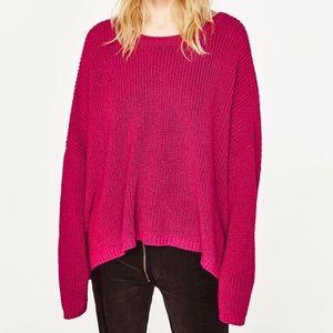 Zara knitwear fuchsia boat neck sweater